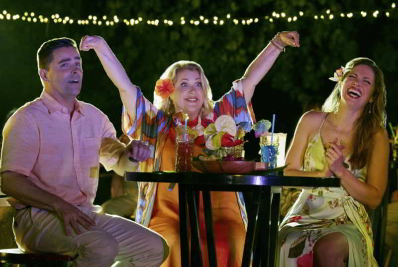 The cast at the Hawaiian party