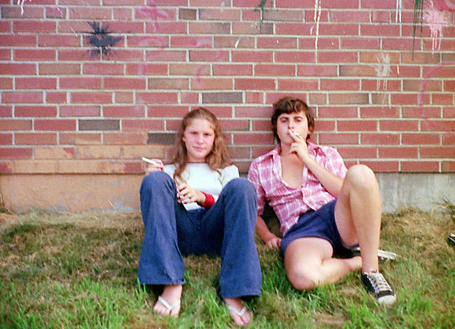 Hey, kids... DON'T DO THIS! Yours truly and a girlfriend puff away on cigarettes hiding behind the Woodmont Pumping Station on Rock Street. Within months, I developed a habit which lasted for 12 years until I finally quit cold turkey. Milford CT. Aug 1973