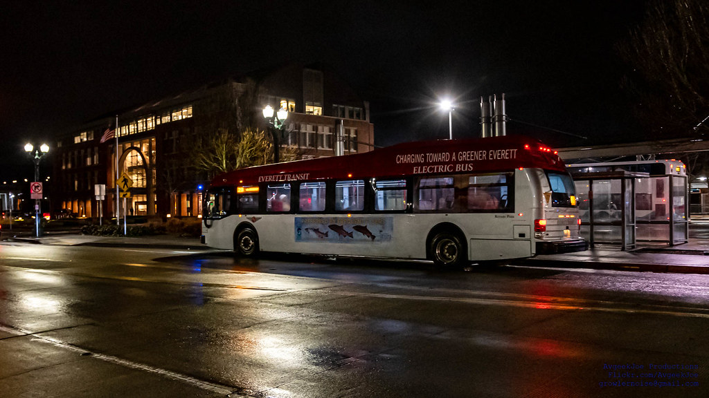 An Everett Transit Bus at Everett Station in the Night