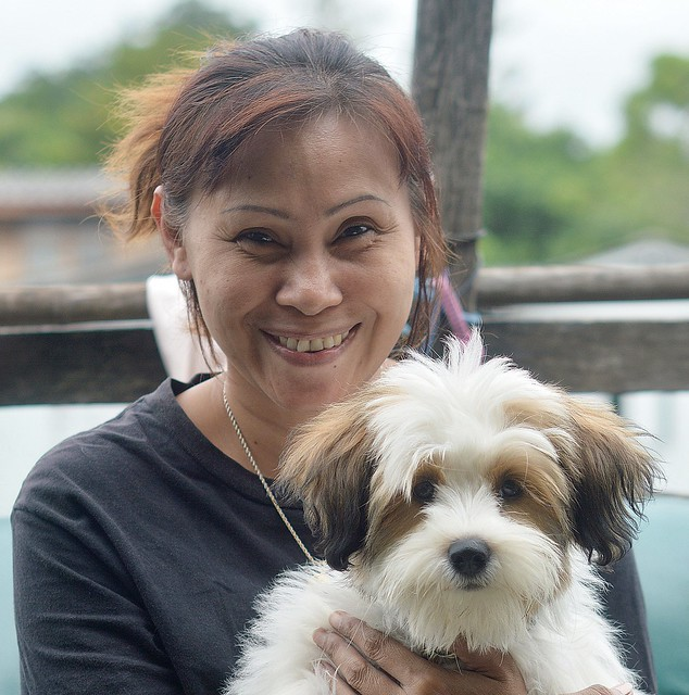 happy lady with very cute dog