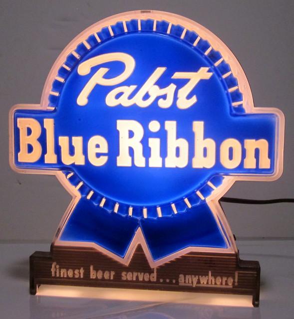 c1950s Pabst Blue Ribbon finest beer served ....anywhere! Bar Light Sign