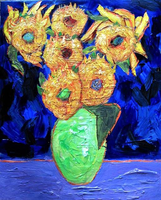 Sunflowers On Ultramarine Background.