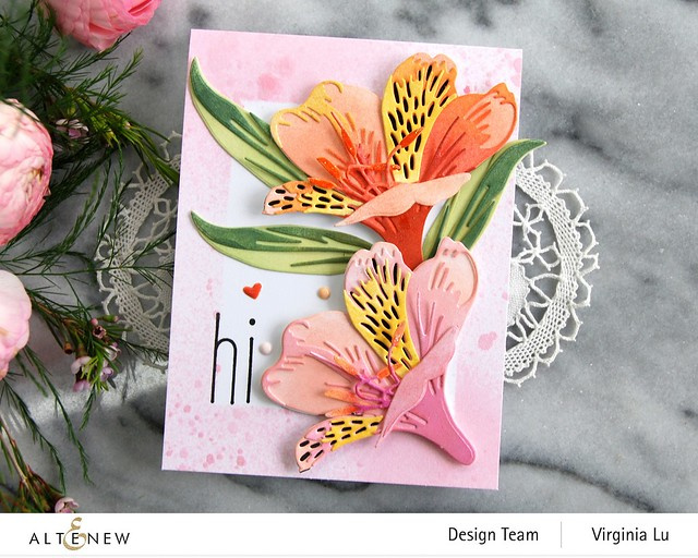 Altenew-CAF Peruvian Lily-Simple Frame Mask Stencil-Frosty Pink Metallic Shimmer Ink Spray -002