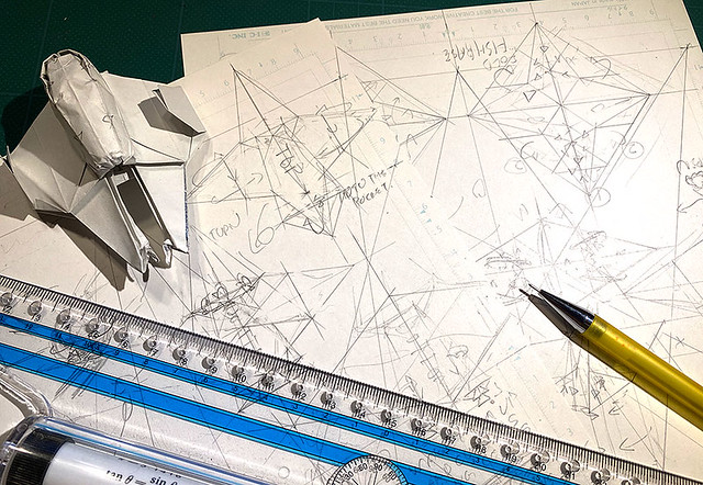 Drafting the diagram of Jedi interceptor origami