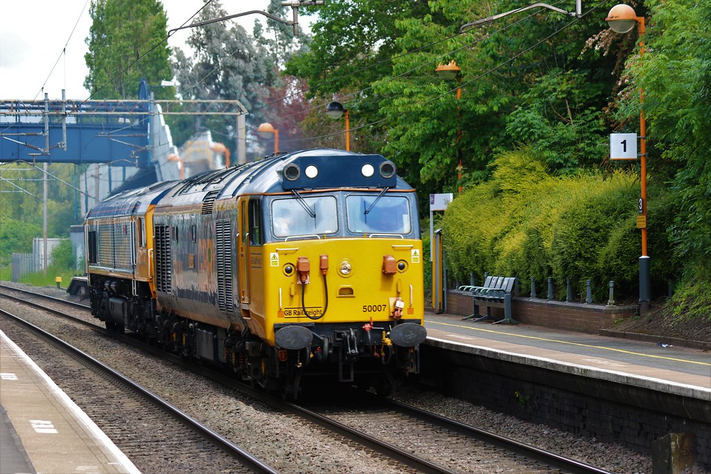 50007/014 passing through Canley whilst working 0Z63 Stewarts Lane to Kidderminster SVR TMD on the 06/06/2021