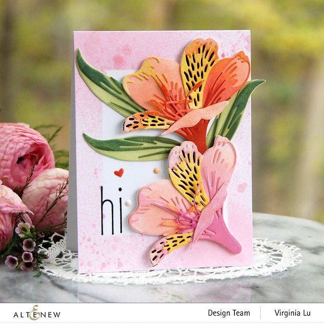 Altenew-CAF Peruvian Lily-Simple Frame Mask Stencil-Frosty Pink Metallic Shimmer Ink Spray