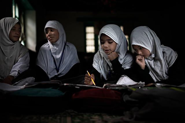 Schoolgirls at work