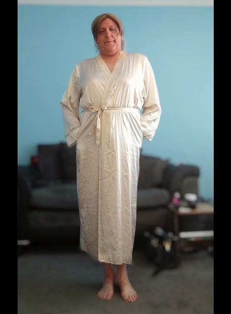 In my satin gown feels so luxurious