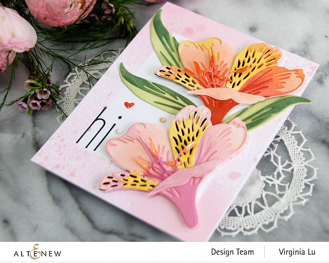 Altenew-CAF Peruvian Lily-Simple Frame Mask Stencil-Frosty Pink Metallic Shimmer Ink Spray -001