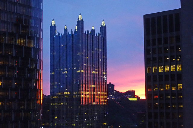Sunset over One PPG Place as seen from our room at Embassy Suites by Hilton Pittsburgh Downtown at 535 Smithfield St in Pittsburgh, PA