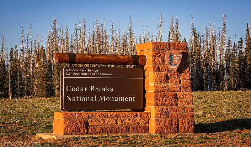 Cedar Breaks National Monument Sign