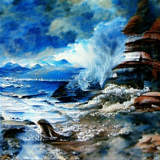 'seascape painting' Big Sleep Minmax Text-to-Image