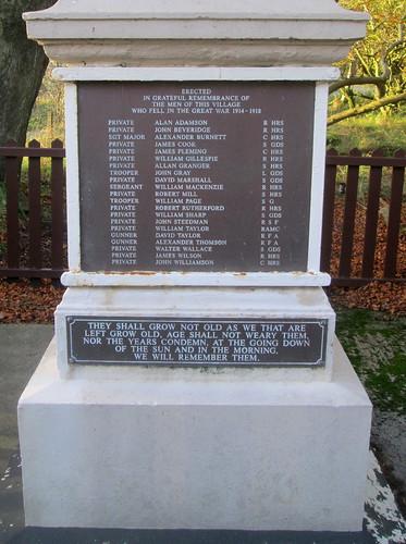 Lassodie War Memorial Dedication and Names