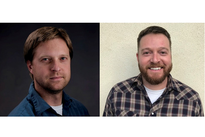 Miles Beaux, left, is honored for his work using scanning tunneling microscopy to better understand the electronic structures of single-crystal actinides. Matt Durham, right, is recognized for his research into exotic probes of dense nuclear matter.