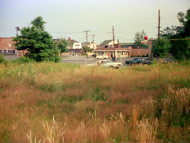 Late afternoon golden summer light across the street from Long Island Sound. Sloppy Joe's burger joint and the Ivy package store in the background. A scattering of 1960s cars parked. I'm out in the weeds getting bitten by ticks. Milford CT. July 1974
