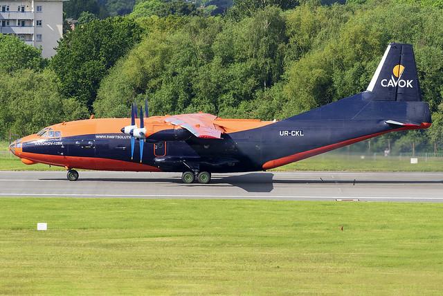 Cavok Air Antonov An-12BK UR-CKL at Birmingham Airport BHX/EGBB