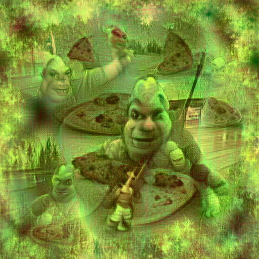'Shrek eating pizza' CLIP Pseudo Slime Mold Text-to-Image