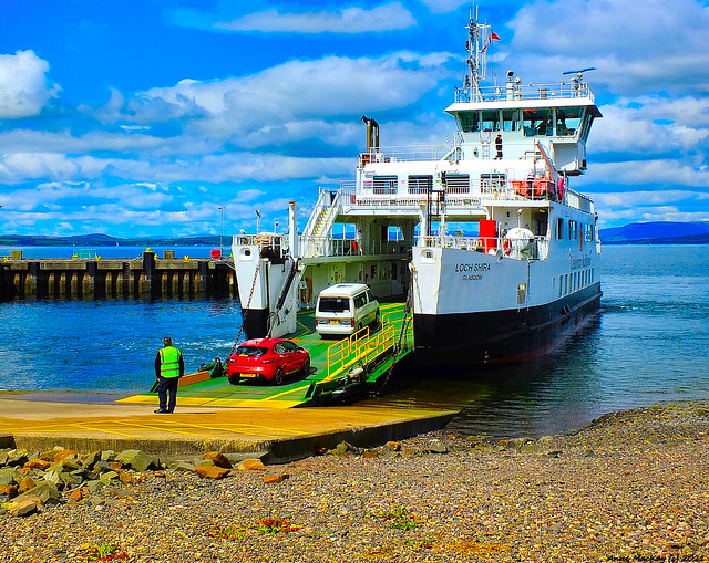 Scotland West Coast cars getting on the car ferry Loch Shira at Largs 22 May 2021 by Anne MacKay