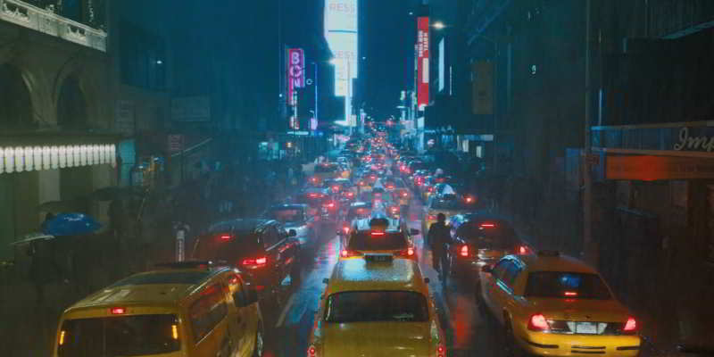 First scene with the taxi in New York