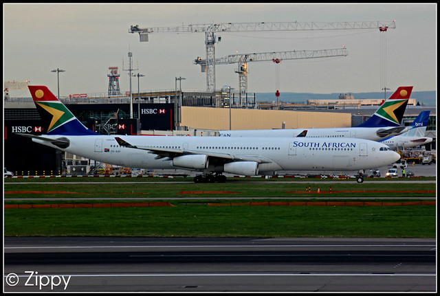 ZS-SXF - South African - Airbus A340 - LHR