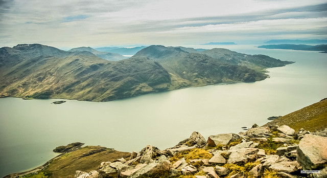 The awesome grandeur of Loch Hourn from Beinn Sgritheall with Skye, Sound of Sleat, Rum, Eigg, Loch Nevis, North Morar and the Ardnamurchan Peninsula, beyond.