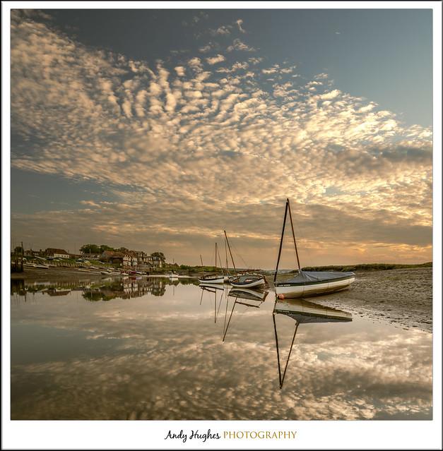 Mackerel sky at sunset.