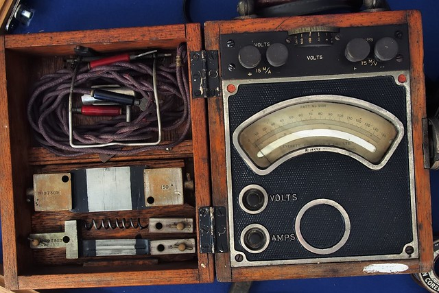 Mid-20thC industrial electrical tester, with high-amp shunts - Historic Dockyard, Portsmouth, England