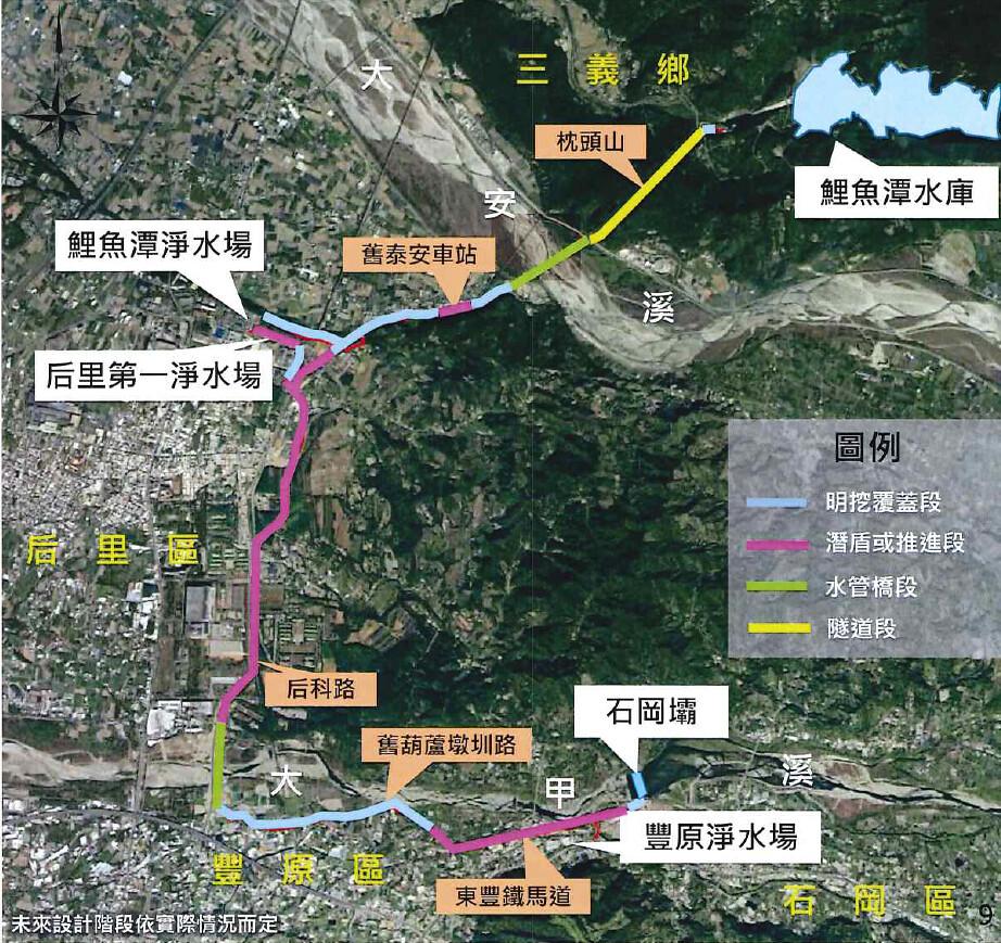 大安大甲溪水源聯合運用輸水工程計畫。圖片來源:環評書件
