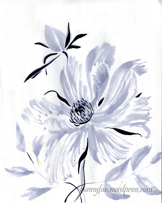 peony ink sketch