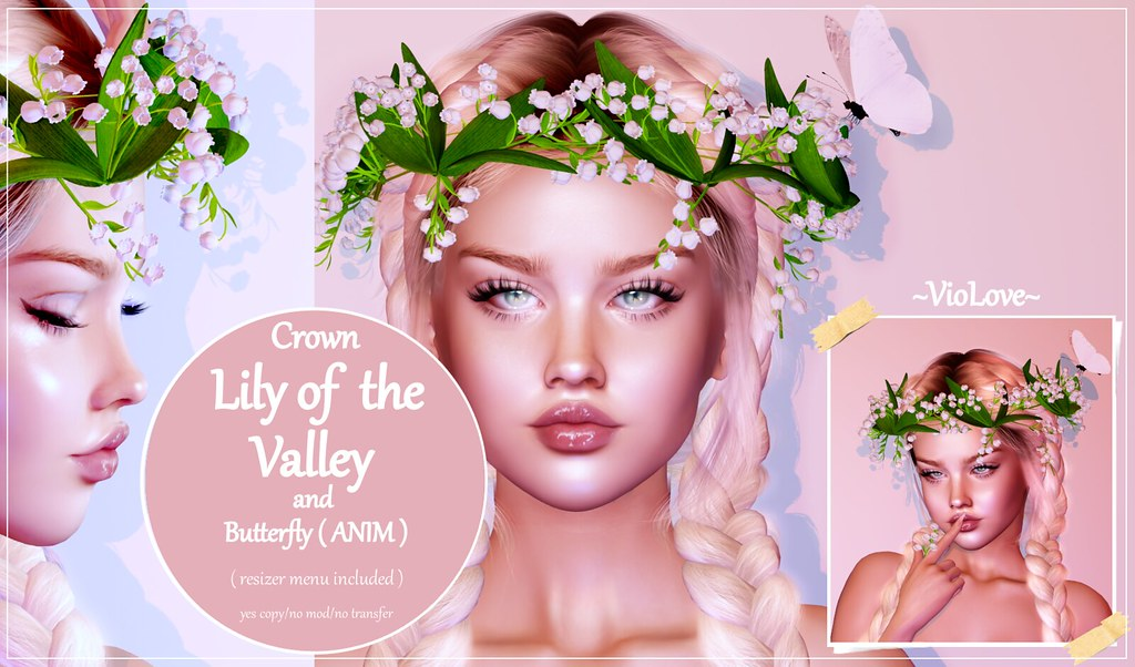 ~VioLove~ Crown – Lily of the Valley and butterfly (ANIM)