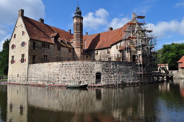 Château de Vishering, Lüdinghausen, arrondissement de Coesfeld, Rhénanie du Nord-Wetsphalie, Allemagne.