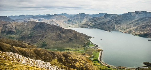 Loch Hourn and Arnisdale Bay with Ben Nevis on the left horizon.