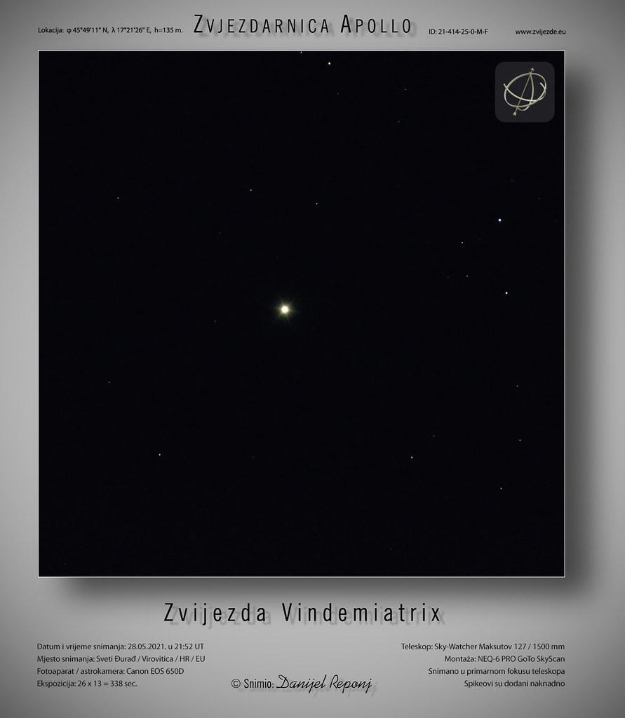 Zvijezda Vindemiatrix, 28.5.2021.
