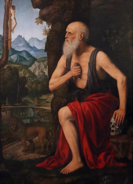 Bernardino Luini (Bernardino Scapi - Dumenza, 1481 circa – Milano, giugno 1532), - San Gerolamo Penitente (1520-25) - tempera su tavola - 90 x 67 cm. - Museo Poldi Pezzoli, Milano