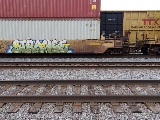 Train graffiti seen around Stevens Point, WI 4/14/2021 5:20PM (STRANGE)