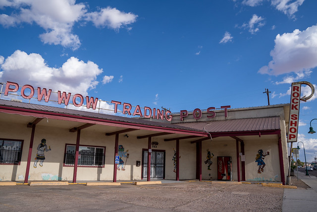 Holbrook, Arizona - May 17, 2021: Sign for the Pow Wow Trading Post and Rocks, along old historic Route 66