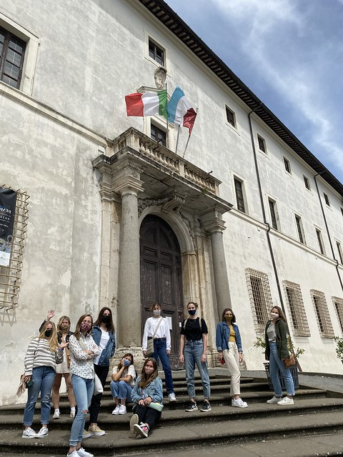 Students stand in front of the Palazzo Chigi, or Chig Palace, where they live for the duration of the program in Ariccia, Italy.