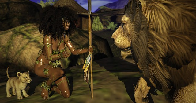Talking over important matters of jungle etiquette...
