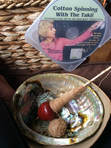 A Louet Apple supported spindle is resting in an abalone shell on a brown cushion.  The spindle has natural brown cotton 2-ply yarn handspun by irieknit wound in a cone-shape on the shaft of the spindle.  A DVD of Cotton Spinning with the Takli by Joan Ruane is leaning on the rattan side of the arm of the chair.
