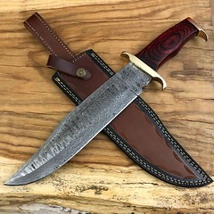 ASH DU11 Damascus Steel Custom Handmade Hunting Bowie Knife 15.5 Inches