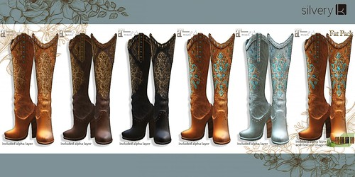 __..Silvery K..__Western Boots High Heels(all-sample)