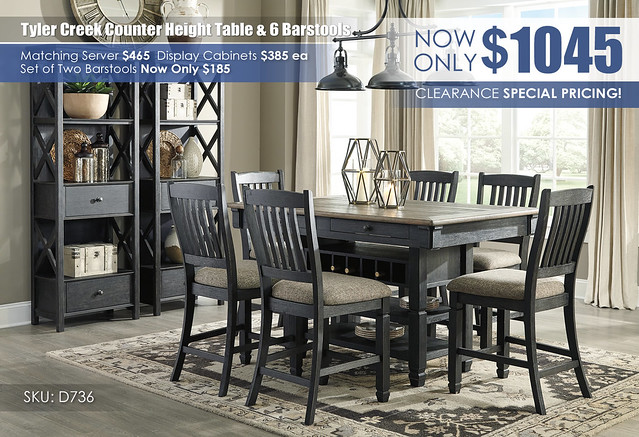 Tyler Creek Counter Height Table & 6 Barstools_D736-32-124(4)-76(2)-R400_June2021
