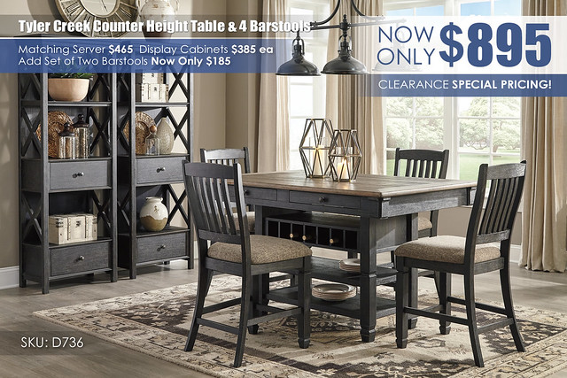 Tyler Creek Counter Height Table & 4 Barstools_D736-32-124(4)-76(2)-R400_June2021