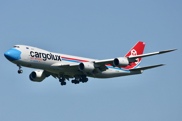 LX-VCF Boeing 747-8R7F Cargolux City of Grevenmacher, Not Without My Mask cs Stansted 9.6.211 CLX Mask Peg A32N - 1 of 1