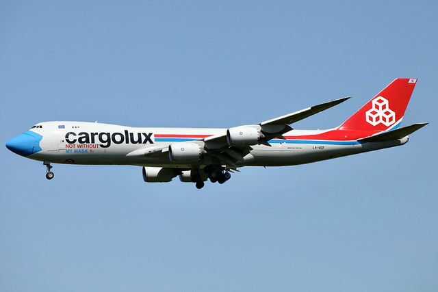 LX-VCF Boeing 747-8R7F Cargolux City of Grevenmacher, Not Without My Mask cs Stansted 9.6.21