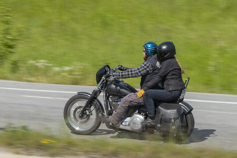 Riding with his girlfriend