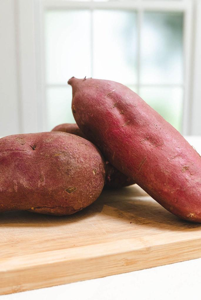 Uncooked Korean sweet potatoes.