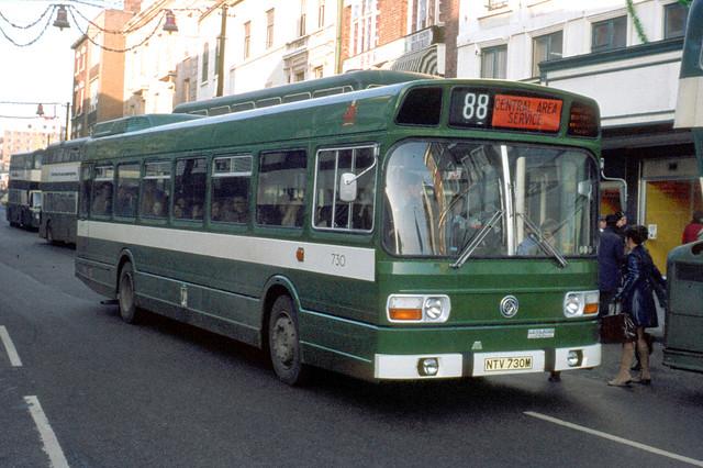 Nottingham City Transport . 730 NTV730M . Angel Row , Nottingham . December-1973 .