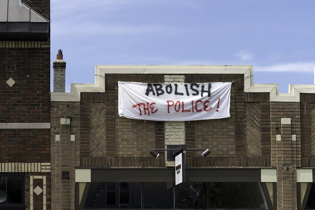 Abolish the Police sign in Minneapolis, Minnesota on May 27, 2020