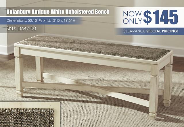 Bolanburg Antique White Upholstered Bench_D647-00